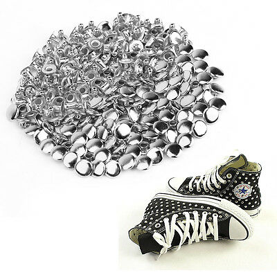 100x 8mm Silver Metal Solid Rivet Studs Jacket Shoes Belts Clothes Leather Craft