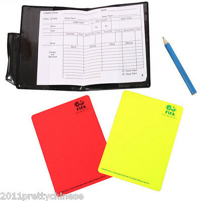 1/2/4 Referee Cards Red/Yellow Football Sport Wallet Notebook Pencil Soccer Set