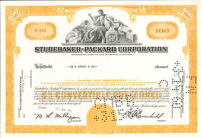 Studebaker Packard Corporation > old automobile car 100 share stock certificate