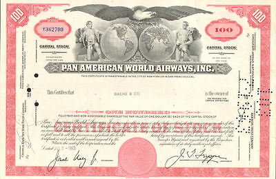 Pan American World Airways   Pan Am airline red 100 share stock certificate