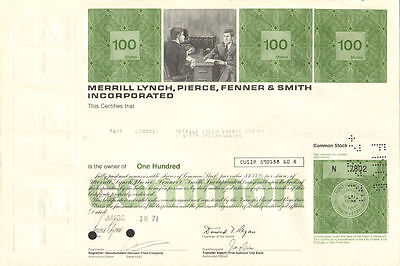 Merrill Lynch stock certificate issued to Merrill Lynch   now Bank of America