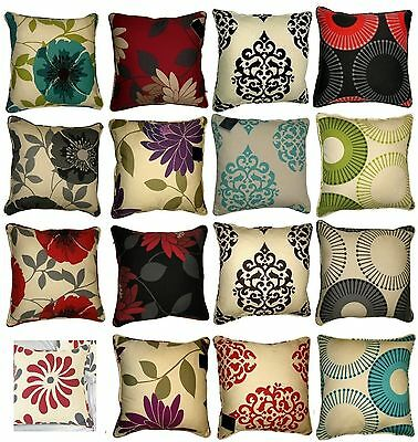 "Printed Flower Cushion Covers sofa chair bed 18"" x 18"" / 45 x 45 cm Poly Cotton"