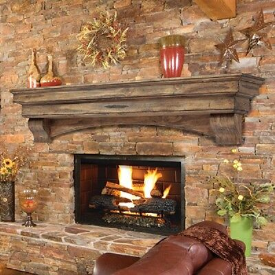 Pearl Mantel Celeste arched pine fireplace mantel or TV shelf. Pick size, finish