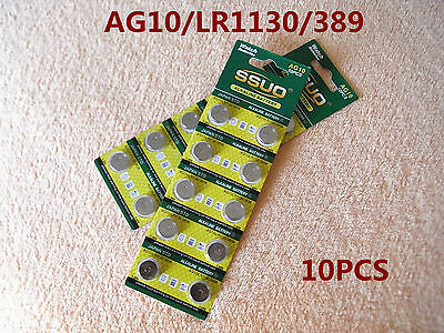 10pcs AG10/LR1130/389 Button Cell Coin JAPAN STD Alkaline Battery 1.55V  Watches