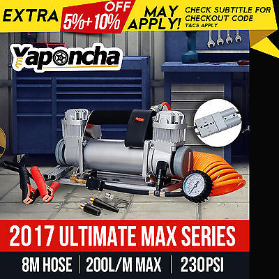 NEW Yaponcha 12V AIR COMPRESSOR 200PSI 200L 4WD CAR TYRE INFLATOR PORTABLE KIT