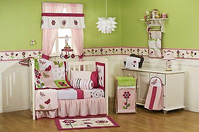 Baby Bedding Crib Cot Bumpers Quilt Sheet Set -11 Piece Berry Garden Butterfly