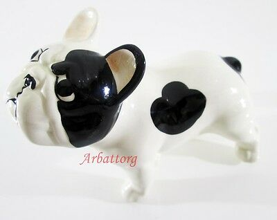 Dog French Bulldog Porcelain Figurine Statuette Realistic Miniature Super #10-2
