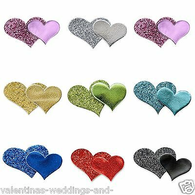 Self Adhesive Double Glitter Heart 12 Pack Wedding Favour Box Decoration Craft
