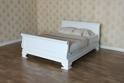 Plain White French Sleigh Bed with regular footboard 6' Solid Mahogany B009PW