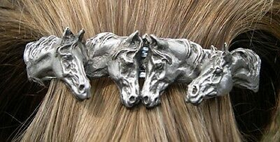 HORSE JEWELRY hair clip barrette Pewter four horse heads Zimmer sculpture