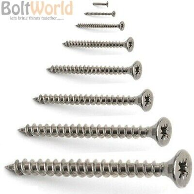 6mm 14g A2 STAINLESS STEEL POZI COUNTERSUNK FULLY THREADED CHIPBOARD WOOD SCREWS
