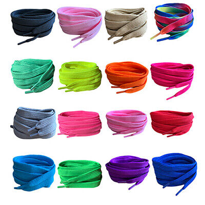 Coloured Flat Shoelaces 60 90 120 & 150cm's Long Laces For Trainers Shoes Boots