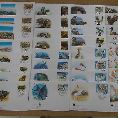 Lot Timbre Animaux  Wwf 5  Series Completes Fdc / Wwf Stamps Animals