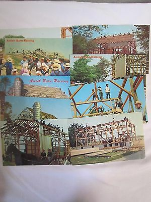 VINTAGE Lot of (10) assorted RPPC Amish BARN RAISING Postcards  *