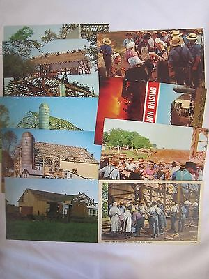 VINTAGE Lot of (10) different RPPC Amish BARN RAISING Postcards  *