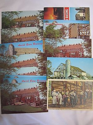 VINTAGE Lot of (14) assorted RPPC Amish BARN RAISING Postcards  *