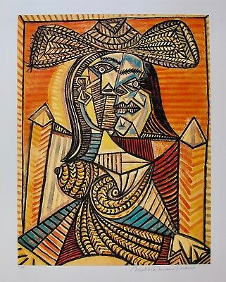 """Pablo Picasso WOMAN IN HAT Estate Signed Limited Edition Art Giclee 26"""" x 20"""""""