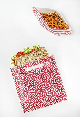 Reusable sandwich & snack bags  PINK 4 piece BPA free, lunch, pouch, resealable