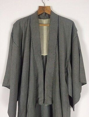 Rare Vtg Antique French 1930s Silk Gingham Boro Jacket Chore Dress Dressing Gown