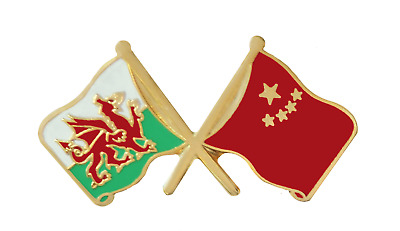 China Flag & Wales Flag Friendship Courtesy Pin Badge - T781