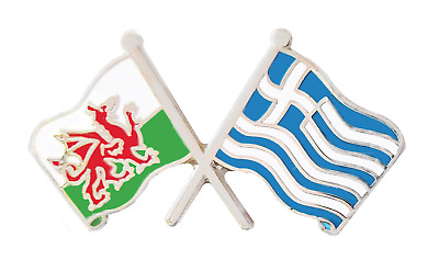 Greece Flag & Wales Flag Friendship Courtesy Pin Badge - T437