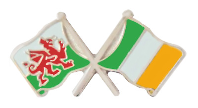 Ireland Flag & Wales Flag Friendship Courtesy Pin Badge - T280