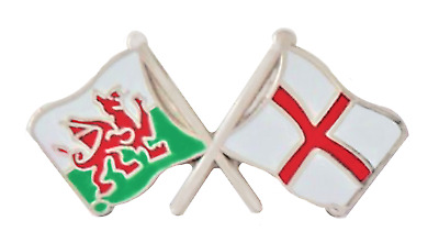 England Flag & Wales Flag Friendship Courtesy Pin Badge - T276