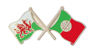 Portugal Flag & Wales Flag Friendship Courtesy Pin Badge - T442