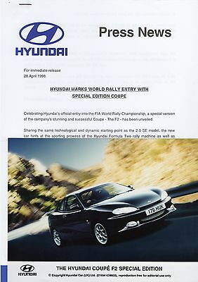 Hyundai Coupe F2 Special Edition Press Release/Photograph - 1998
