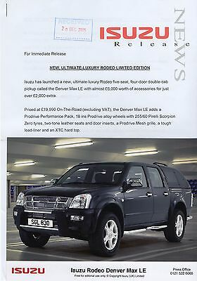 Isuzu Rodeo Denver Max LE Press Release/Photographs 2005 - Prodrive Pack