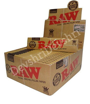 Raw Classic King Size Slim Papers Authentic Natural Rolling Smoking Genuine