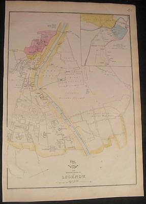 Lucknow India large detailed city plan c.1863 scarce old antique city plan