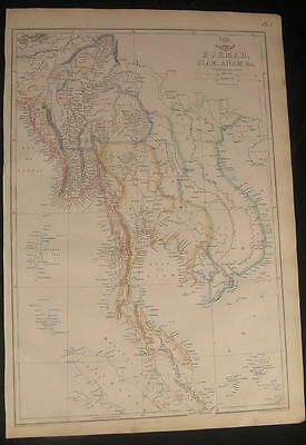 Burma Siam Anam SE Asia by Weller folio c.1863 scarce old vintage antique map