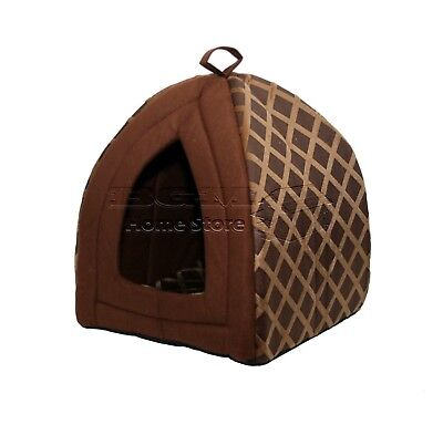 Floding Luxury Pet House Bed Cat Dog Kitten Warm Fleece Igloo Soft Cave Brown