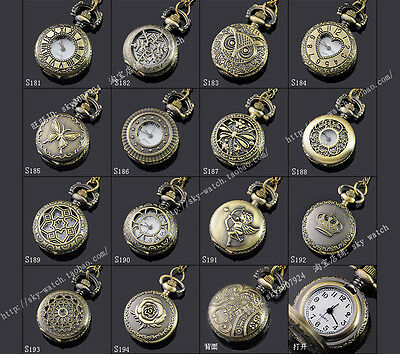 Wholesale6pcs Chinese Handmade Vintage Bronze Necklace Watch pocket watch
