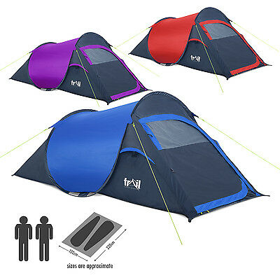 2 Man Two Person Pop Up Festival Camping Tent Carry Case Easy Quick Fast Pitch