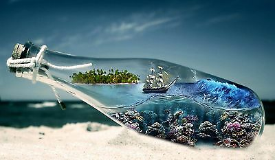 ABSTRACT -Stunning Ship In A Bottle Landscape Wall Art Canvas Picture 20x30""