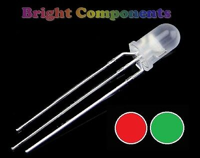 5 x Bi-Colour Diffused LED 3mm  - Red/Green - UK - 1st Class Postage
