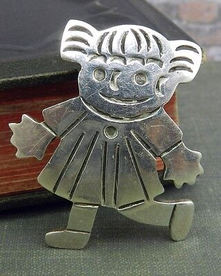 Mexico Sterling Silver Playful Girl Pin and Pendant