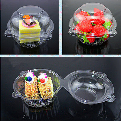 20 Individual Clear Plastic Single Cup Cake Muffin Case Pods Domes Boxes hold