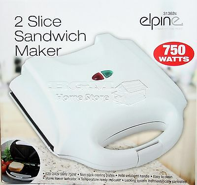 750W White Electric 2 Slice Sandwich Toast Toaster Maker Non Stick Easy Clean