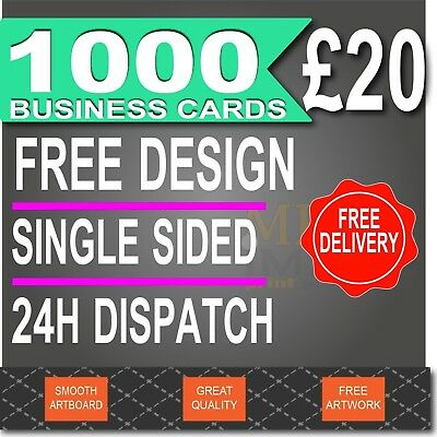 1000 Business Cards, FULL COLOUR, FREE DESIGN, 24-48H DISPATCH