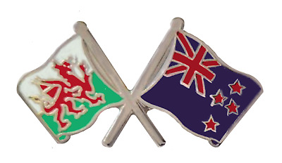 New Zealand Flag & Wales Flag Friendship Courtesy Pin Badge - T282