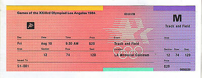Orig.ticket   Olympic Games LOS ANGELES  1984 - 10.08.1984 / Athletics  !!  RARE