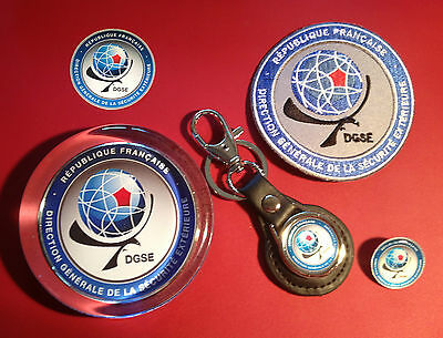 Dgse` Collectors Set: Paperweight, Leather Key Ring, Badge, Patch & Sticker