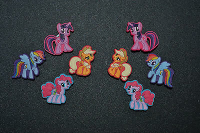 8 pc My Little Pony Jibbitz Charms fit Wristbands, shoe lace adapters & crocs