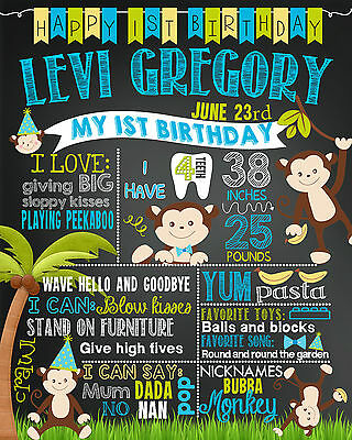 Birthday Monkey jungle Chalkboard poster milestone sign for a girl boy first  32