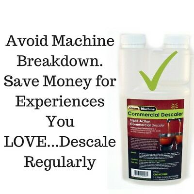 Descaler 1Litre  Coffee Machine Cleaner 20 Doses Descale Breville Saeco Delonghi