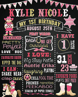 Cowgirl First Birthday chalkboard sign chalk board poster (34)
