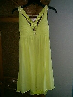 Cache' Sexy chartreuse Yellow Cocktail Dress beaded back 4 orig. $218